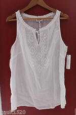 NWT Laundry by Shelli Segal Optic White Cotton Embroidered Knit Top 14 $138