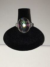 Royal Style Natural Mystic Topaz Ring for Party Lady