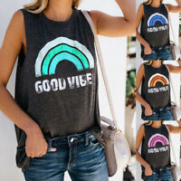 Womens Holiday Ladies Shirt Rainbow Loose Casual Summer UK Cami Vest Blouse Tops