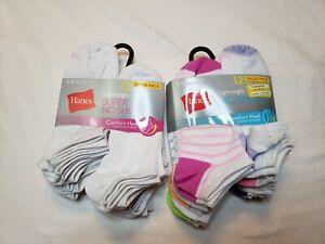 Hanes Premium Womens 24 Pairs Lightweight Super No Show Socks Size 5-9 Comfort