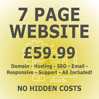 7 Page Web Design - Includes Domain & Hosting - Responsive Website Design + SEO