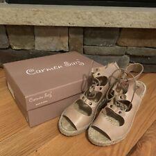 Carmen Saiz Espadrille Wedge Sandals Womens 36 6 Lace Up Open Toe Heels Shoes