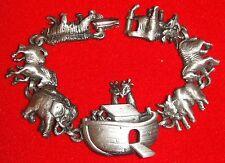 Christmas Noah's Ark 7 Inch Vintage Bracelet; Pewter Finish; by AJC, NEW