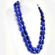 1026.50 CTS EARTH MINED 2 STRAND RICH BLUE SAPPHIRE PEAR CARVED BEADS NECKLACE