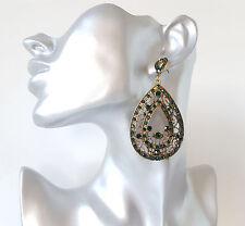 Hermosa 8cm de largo boho vintage oro tono y Verde Diamante Pendientes De Color