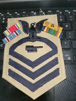 WW2 US NAVY CPO GUN CAPTAIN PATCH AND RIBBONS VERY REAL THING