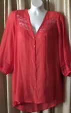 New Cato Coral Orange Pintuck Lace Tunic Blouse Top sz L Hippie Casual