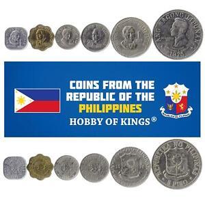 Set 6 Coins Philippines 1 5 10 25 Sentimos 1 5 Peso 1975 - 1978
