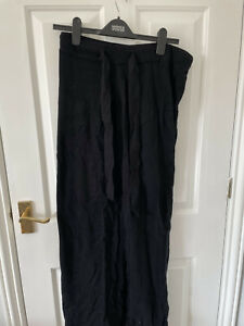 New Autograph Cashmere Mix Black Lace Trimmed Loungewear Pants 14