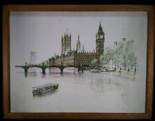 Vintage Cityscape Painting London Parliament Big Ben Signed H Moss Framed