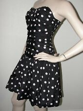 LUELLA by TARGET Size 7 Strapless Ruched Bubble Prom Dress Black Pink Polka Dot