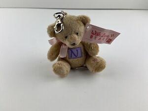 "Russ With Love Bears 4"" Teddy Bear Stuffed Plush Keychain Letter N"