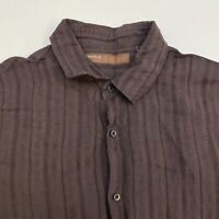 Perry Ellis Button Up Shirt Men's 2XL XXL Short Sleeve Brown Casual Linen Blend