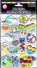 Peace Sign 3-D Bejeweled 18 Stickers Dove V Hearts Flowers Love Rainbow 1960s