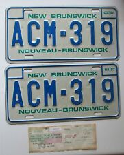 New Brunswick 1987 License Plate WITH REGISTRATION HIGH QUALITY PAIR # ACM-319
