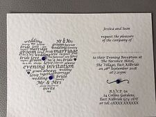 50 Personalised Wedding Invitations Day/Evening/Mix **FREE ENVELOPES**