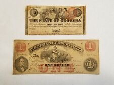 Jan. 1, 1863 Georgia 25 Cents & July 21, 1862 $1 Virginia Treasury Note (E615)