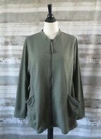 LOGO Lori Goldstein Jacket Sz LARGE French Terry Zip Front Bayleaf Green A259247