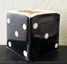 More details for vintage 1960s sandygate pottery dice domino cube ashtray pen holder trinket