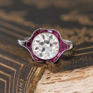 OEC 1.70 Ct Colorless Moissanite Ruby Halo Engagement Ring 925 Sterling Silver 7
