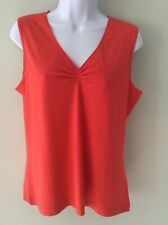 Gerry Weber Tangerine Orange Ladies Sleeveless V Neck Top Size 14