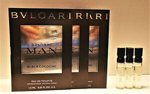 Bvlgari Man Black Cologne Eau de Toilette Sample Spray Vials 3 x 1.5 ml