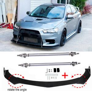For Mitsubishi Lancer Evo X Front Bumper Lip Spoiler Splitter Kit + Strut Rods