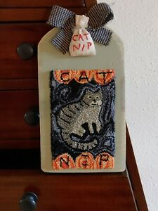 """Primitive punch needle """"Cat Nip"""" hornbook farmhouse cupboard tuck Kitty country"""