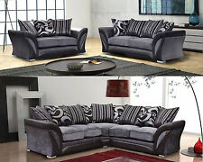BRAND NEW SHANNON LEATHER & FABRIC 3+2 SEATER SOFA OR CORNER SOFA GREY/BLACK