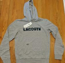 Authentic Mens Lacoste Logo Print Pullover Hoodie Silver 8 (3XL) $135