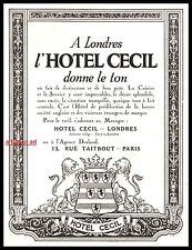 Publicité Hotel CECIL Londres London vintage print ad  1924 -1j