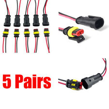 5X Automotive 2 Pin Point Watertight Electrical Connector Plug Wire Dust-proof