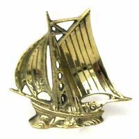 """Vintage Solid Brass Sailboat Boat Paper Weight Desk 4"""" Tall, Nautical Decor"""