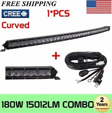 37inch 180W Curved SLIM CREE LED Light Bar Work Combo Truck ATV 4WD W/Wiring Kit