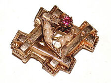 Beautiful Antique 10K Gold Hash Mark Pin With Pink Tourmaline And Seed Pearls