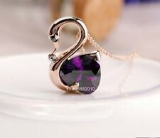 18K GP Rose Gold Crystal Noble Purple Love Swan Pendant Necklace