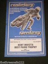 Speedway gioco-CANTERBURY-Kent INVICTA MIGLIORI COPPIE - 5 Giugno 1976
