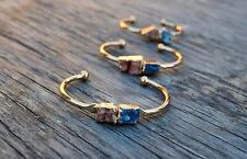 Druzy Bracelet Quartz Drusy Cuff Raw Crystal Bangle Blue Peach Gold US Seller