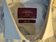 CHARLES TYRWHITT FRENCH CUFF SLIM FIT 15.5 35 M BLUE WHITE STRIPE Men's Shirt