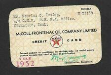 Vintage McColl-Frontenac Oil Co. Ltd Texaco Credit Card C/O CNR Account 1952
