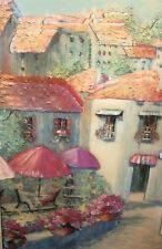 Decoupage vintage tridimension collage buildings,people in coffee shop beautiful