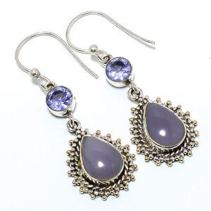 """Lavender Jade & Iolite 925 Sterling Silver Bali Earring 2.07"""" F258"""