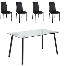 Arni 5 Piece 1400 Glass Top Dining Setting on Black Aluminium Legs - BRAND NEW