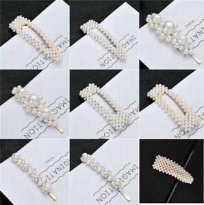 Large Pearl Hair Clips Slide Bridal Accessory Geometric Snap Hairpins Barrette