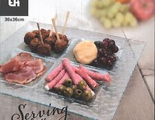 Large Square 36cm Glass Serving Platter With 4 Sections Party Snacks Sushi Tapas