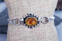 """Vtg 925 Sterling Silver TAXCO Amber Cabochon Bangle Bracelet, 7"""" 22g"""