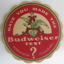 BUDWEISER TEST 1940s Beer COASTER Mat w/ EAGLE Anheuser-Busch, St Louis MISSOURI