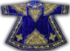 STUNNING UZBEK GOLD SILK EMBROIDERED ROBE CHAPAN FROM BUKHARA T676