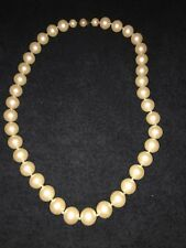 """Vintage Miriam Haskell Faux Pearl Necklace 32"""" Large Pearls Knotted Signed"""