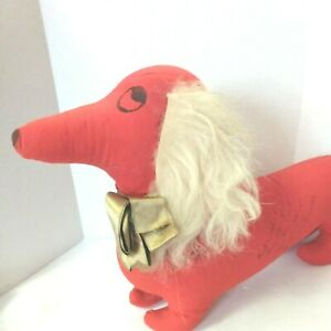 Vintage Red Weiner Dog Plush Signed Stuffed Animal Dachshound 1955